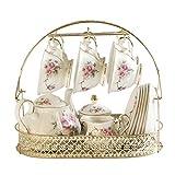 Kaffeetasse mit Untertassen-Set 15 Stück Keramik Tee-Sets, Kaffee-Set mit Metallhalter, weiß Red Rose Blumen-Malerei.mit Teekanne Zuckerdose Milchkännchen Teaspoons Speisezimmer, Wohnzimmer