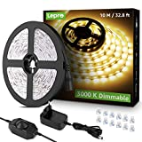 Lepro LED Strip 10M, LED Streifen Lichterkette Warmweiß, Band Lichter Wasserdicht IP20, Weiß Dimmbar Lichtleiste Light, Lichtband Leiste, Warmweiss Kette Stripes für Party Weihnachten DIY Dek