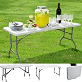 ZCYY 4ft & 5ft Camping Klapptisch Robuster tragbarer Faltbarer Picknicktisch mit Einstellbarer Höhe Kompakter Mehrzwecktisch mit wegklappbaren Beinen Fallsicherung und Tragegriff für Kü