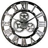 Chutoral Wanduhren, industrielle Zahnräder, römische Retro-Holz-Uhr, groß, rustikal, dekorative Quarzuhren, batteriebetrieben (33 cm Silber)