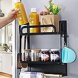 Lemecima Kühlschrank Regal Magnetisch Hängeregal Küche mit 4 Abnehmbaren Haken & Papierhandtuchhalter Magnet Regal Kühlschrank Aufbewahrung von Gewürzen, Papiertüchern, Küchenutensilien (Schwarz)