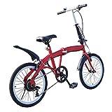 Folding 20 Zoll Klapprad, Faltrad Kohlenstoffstahl Mountainbike Klappfahrrad 7-Gang Fahrrad Ladegewicht 90 kg Doppel-V-Bremse Rot