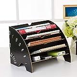 Briefablage A4 Holz Sortierablage Dokumente Aufbewahrung Briefkorb mit 6 Fächer Magazin Zeitschrift Ablagekorb Ordnungssystem für Büro und Schule