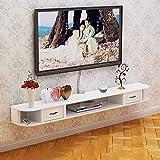 HäNgende TV-Konsole, Wandbehang TV-Schrank, an Der Wand Befestigter DVD/Blu-Ray Player HintergrundstäNder Satelliten TV Box Kabelbox/Weiß / 120cm