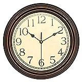 Runde Retro Wanduhr, Nicht tickende stille Wanduhr dekorativ, batteriebetriebener Quarz analoger Ruheluhr für Wohnzimmer, Küche, Schlafzimmer (Bronze, 30mm)