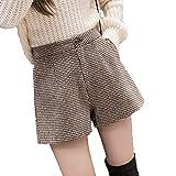 Lässige Wollshorts für Damen A-Linie Hose mit weitem Bein Täglich Wild Thin Hips-Liften Verschleißfeste Dreipunkthose