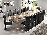 Skraut Home- Konsoletisch, Esszimmertisch und Wohnzimmertisch, rechteckig, Ausziehbarer Esspulttisch bis zu 300 cm aus Eiche. Geschlossenen 90x49x75cm. Bis zu 14 Sitzplätze