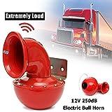 Phayee Rotes elektrisches Stierhorn 250DB Red Electric Bull Horn 12 V Lufthorn Raging Sound Super Laut für Auto Motorrad LKW Boot