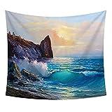 YDyun Tapestry Tapestries Bohemian Bedspread Ocean Wave Beach Ölgemälde Wandteppich