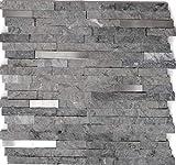 Mosaik Fliese Marmor Naturstein Brick Splitface grau Edelstahl für WAND BAD WC DUSCHE KÜCHE FLIESENSPIEGEL THEKENVERKLEIDUNG BADEWANNENVERKLEIDUNG Mosaikmatte Mosaikp