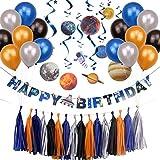 Weltraum Geburtstag Deko Planeten Spiralen UFO Happy Birthday Girlande Space Party Dekoration Set (Tassels)