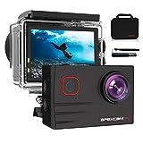 Apexcam Pro Action Cam 4K 20MP Sportkamera WiFi Unterwasserkamera 2.4G Fernbedienung Wasserdicht 40m 2.0 Zoll LCD Bildschirm 170 ° Weitwinkel mit Zwei 1200mAh Batterien externes Mik