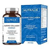 Meereskollagen Reines Hydrolysiertes Kollagen mit Hyaluronsäure, Q10, Vitamin C, E und B12 und Lycopin   100% Kollagenpeptide   Pflege von Haut, Haaren, Gelenken und Knochen   60 Kapseln Nutralie