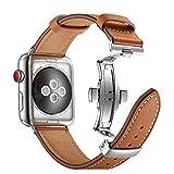 ANYE Lederarmband Kompatibel mit Leder Armband Apple Watch SE Band iWatch 40mm Apple Watch 38mm Echtleder Ersatzband Apple Watch Series 6 Series 5 Series 4(40mm)/Series 3 Series 2 Series 1 (38mm)