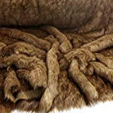 TOLKO 50cm WOLF Kunstfell | kuschelig weiches Fellimitat mit 4cm Florhöhe | Teddy Plüschstoff Webpelz | zum Nähen, Dekorieren und Basteln | Meterware am Stück (Wolf Langhaar)