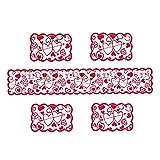 Hiinice Tischläufer Red Lace Set Tischdecke Tischsets Dresser Schal Herz Valentine Dekoration Weihnachten Romantische Muttertag 5PCS