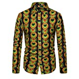 BUXIANGGAN T Shirts Hemd Mens Print Dress Shirt Kausal Button-Down Langarmhemd Männer African Tribal Clothing Chemise Homme-Cx2099_Asian_XXL