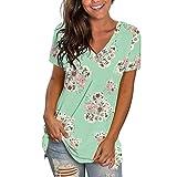 WORMENG Damenmode Casual Shirt Kurzarm Oberteile V-Ausschnitt Bedruckt T-Shirt Lässiges lockeres Tank Tops Bluse