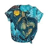 Damen Festival Top Shirts Halloween-Druck Übergröße O-Ausschnitt T-Shirts Kurzarm Grafik T-Shirt Elegantes Hemd Damen Damen Tunika Bluse Damen