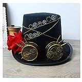 SSHZJUS Frauen schwarz Steampunk Zylinder mit Zahnrad Brille und Rose Performance Hut DIY Hut Cosplay Steampunk Hut (Color : Schwarz, Size : 57cm)