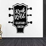 KBIASD Rock N Roll Gitarren Shop Gitarre Silhouette Wandaufkleber Musikliebhaber für Zuhause und Musik Shop Dekoration 42x54cm