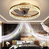 Modern LED Deckenventilator mit Licht, Lüfter unsichtbar mit Fernbedienung 3 Farbe änderbar, Dimmbares Lüfterlicht für Wohnzimmer, Schlafzimmer, Kinderzimmer,Gold