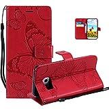 Vectady für Samsung Galaxy S6 Hülle, Handyhülle Flip Case Cover für Samsung Galaxy S6 Schutzhülle Tasche Hüllen Leder Handytasche Magnet Geldbörse Klapphülle für Samsung Galaxy S6,Rosso