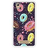 Hapdey silikon Hülle für [ ZTE Blade A452 - X3 ] Design [ Muster von Donuts mit Schokolade und farbigen Streuseln 2 ] Transparenz Flexibles TPU