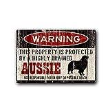 FemiaD Aussie Schild, lustiges Metallschild, Hundewarnschild, australischer Schäferhund, lustiges Hundeschild, 30,5 x 40,6