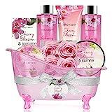Geschenkset Frauen,Body&Earth 8pcs Bad Set mit Kirschblüten und Jasmin Duft, Inklusive Schaumbad, Duschgel, Badesalz und Mehr, Beauty Set für Frauen Geschenk Geburtstagsgeschenk fü