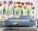 MENGRU Wallpaper Tapete 3D Fototapete Einfache Frische Tulpen Tapeten 3D Effekt Vliestapete Wohnzimmer Schlafzimmer Wandbilder Wanddeko 150cmX105cm