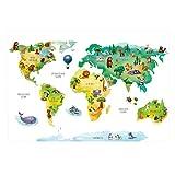 202 Wandtattoo Weltkarte mit Tieren - Kinderzimmer Wanddeko Größe 1800 x 1240