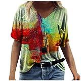 KYBA Kurzarm Shirt Damen Oberteile 2021 Sommer Casual Farbblock T Shirt Top Bluse V-Ausschnitt Tunika Oversize Casual Loose Pullover