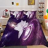 KIrSv Blumen 3D-Druckmuster Bettbezug Kissenbezug, Die Lieblingsbettwäsche für Jungen und Mädchen, Geeignet für Einzel Doppel King-Size-Bett-10_210x245cm (3 Stück)