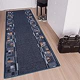 TAPISO Anti Rutsch Teppich Läufer rutschfest Brücke Meterware Modern Blau Dunkelgrau Braun Vierecke Design Flur Küche Wohnzimmer 100 x 300
