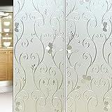 LMKJ 3D Flower Privacy Window Film, Frosted Non-Adhesive Dyeing Window Sticker, electrostatic Paste Heat Control Film A54 30x200cm