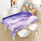 Fansu Tischdecke Wasserdicht Tischwäsche Küchentischabdeckung, Rechteckige Wasserabweisend Abwaschbar 3D Wolken Tischtuch für Küche Esstisch Quadratischer Tisc Dekoration (Lila Sterne,60x60cm)