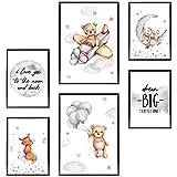 Frechdax® Kinder Poster Set   Wandbilder als Kinderzimmer Deko   2 x DIN A3 & 4 x DIN A4 - ca. 30x42 & 21x30   ohne Bilderrahmen (» Dream Big, Mond, Bär, Baby «)