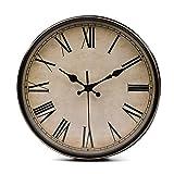 Lawei Wanduhr Vintage Küchenuhr mit Geräuscharmem Uhrwerk Kinderuhr ohne Tickgeräusche mit Römische Ziffern für Büro Zimmer Cafe Restaurant, Ø 28 cm