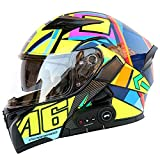Bluetooth Integrierter Modularer Helm Hochklappbarer Full Face Offroad-Motorrad-Motocross-Helm Rennmotorrad-Doppelvisier-Helme Für Männer Frauen ECE FM/1200 Mah/MP3 Usw,Q7,L