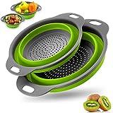 BONH Zusammenklappbares Silikon-Abflusskorbsieb,2 Silikonfiltertragbare,für Küche,Camping,Abtropfen von Lebensmitteln,Obst,Gemüse