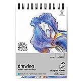 Winsor & Newton 6691005 Zeichenpapier im Spiralblock - 25 Blatt DIN A5, 150g/m², mittlere Körnung, natürliches Weiß, säurefrei, Alterungsbeständig, Ideal für Bleistift, Buntstift, Pastell und Kohle