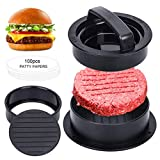 Wishstar Burgerpresse, Hamburgerpresse Patty Maker, Burger Pattie Presse, 3 in 1 Burger Set mit 100 Blatt Backpapier, Burgerpattypresse mit Antihaftbeschichtung für Hamburger, BBQ, G