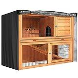 SagaSave Universal-Abdeckung für Doppelstall, feuchtigkeitsbeständig, für Kaninchenstall, Abdeckung für staubdichte Stallabdeckung für Rubbits, Katzen, Haustier-Zubehör, schwarz, 122 x 50 x 105