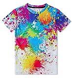 IDGREATIM Cool Jugend-Teenager 3D T-Shirt Jungen Mädchen Bunte Tinte Kurzarm Hemden Tops