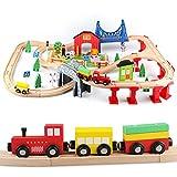 Jacootoys 80 Teile Holzeisenbahn Set Eisenbahn aus Holz Zug Spielzeug kombinierbar Spielzeugeisenbahn für Kinder 3+ Jahre alte Mädchen Jungen