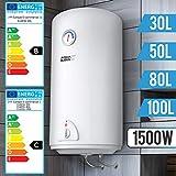 Aquamarin® Elektro Warmwasserspeicher - Größenwahl 30,50,80,100 Liter Speicher, 1500W Heizleistung und Thermometer - Boiler, Wasserboiler, Warmwasserb
