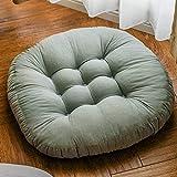 QSCV Japanischer Futon Stuhl Pad Für Wohnzimmer Schlafzimmer Sofa,Runde Kissenbestuhlung Tatami Bodenkissen,Weich Gemütlich Baumwolle Bodenkissen-Grün 18'(45cm)