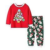 Baby Jungen Mädchen Bekleidungsset Weihnachten Print Kleidung Set Pyjama T-Shirts Tops Nachtwäsche Print Hosen Zweiteilig Kleidung, Rot, 3-4 Jahre