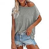 Buby Damen Cold Shoulder Bluse Fledermausärmel Baggy Tunika Top T-Shirt Damen Sommer Polo Shirts Einfarbig Freizeithemden Basic Comfort Einfach Dünn Elegant Sexy Blusen Tops